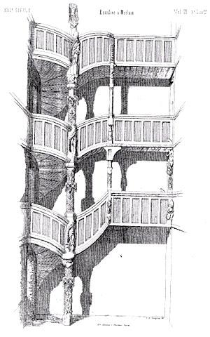 """G. de Marguerye, """"XVIe siècle – Escalier à Morlaix"""" [XVI century – staircase in Morlaix], in Bulletin archéologique de l'Association bretonne, 3e volume, 1851, 2e pl. hors-texte."""